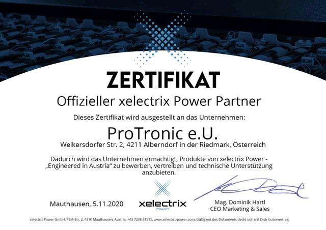 Zertifikat xelectrix